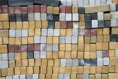 Cement bricks in different colors. Stack of cement bricks in different colors Stock Image