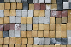 Cement bricks in different colors. Stack of cement bricks in different colors Stock Photos