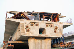 A cement bridge construction The sling was hanging out in the first segment. Stock Image