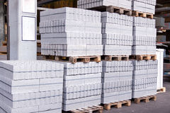 Cement building blocks stacked on pallets Royalty Free Stock Photo