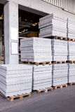 Cement building blocks stacked on pallets Stock Photo