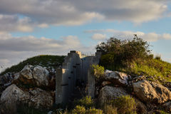 Cement bunker at sunset time, Israel, Samaria. Royalty Free Stock Images
