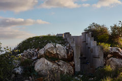 Cement bunker at sunset time, Israel, Samaria. Royalty Free Stock Image
