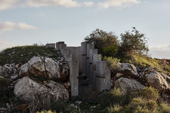 Cement bunker at sunset time, Israel, Samaria. Royalty Free Stock Photo