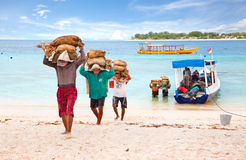 Cement carriers on gili Trawangan, Indonesia Stock Images