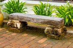 The cement chairs the corridors garden. The cement chairs the corridors garden , Thailand Royalty Free Stock Photos