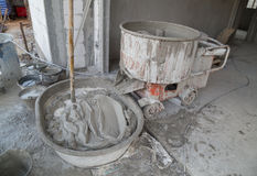 Cement concrete mixer at construction site. Old cement concrete mixer machine  at construction site Stock Photography