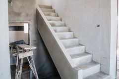 Cement Concrete Stair In The Under Construction House Stock Photo