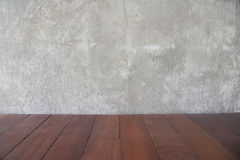 Cement concrete wall background for copy space and old brown woo royalty free stock photography