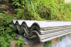 Cement corrugated tile Stock Images
