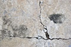 Cement. Cracking cement on the ground, may be dangerous Royalty Free Stock Image
