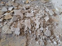The cement debris damaged chipped cracked by time deterioration Royalty Free Stock Photo
