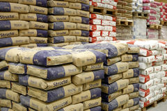 Cement department in construction materials store Stock Photography