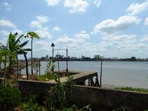 Cement dock on Co Chien River Vietnam Royalty Free Stock Photography