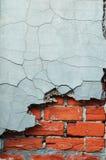 Cement en baksteen gebarsten textuur stock afbeeldingen
