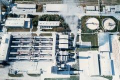 Cement för växt för tillverkning av, flygfotografering arkivbilder