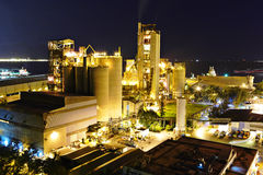 Cement factory. In the night stock photography