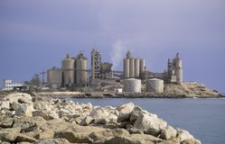Cement Factory. A cement factory, located on the coast, near Arguineguin, Gran Canaria Royalty Free Stock Image