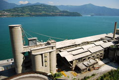 Cement factory. On lake of Iseo Stock Photos