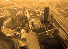 Cement factory, aerial. Aerial view of a cemet production factory stock image