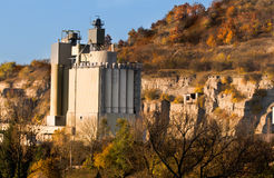 Cement factory  in Autumn in Germany Royalty Free Stock Photos