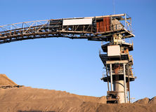 Cement Factory Conveyor. Low angle image of a conveyor and screening plant of a cement factory Stock Images