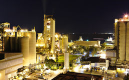 Cement factory at night Royalty Free Stock Photography