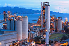 Cement factory at night Royalty Free Stock Images