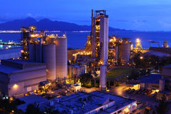 Cement factory at night Royalty Free Stock Photo