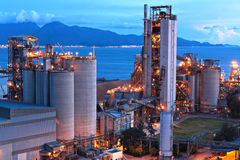 Cement factory at night Royalty Free Stock Photos