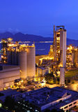 Cement factory at night Stock Photo