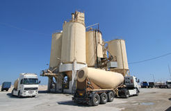 Cement Factory and Trucks Royalty Free Stock Images