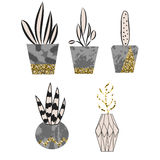 Cement flower pots with plants and glitter decor. Royalty Free Stock Photos