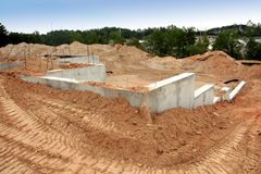 Cement foundation of a brand new home. Site. There are bulldozer tracks going around it royalty free stock photos