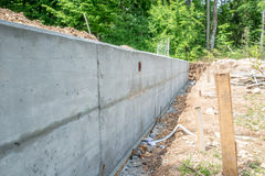 Cement Foundation Wall at Construction Site Stock Photography