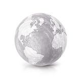 Cement globe 3D illustration North and South America map Stock Image