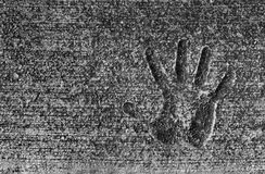 Cement Hand Print Stock Photography