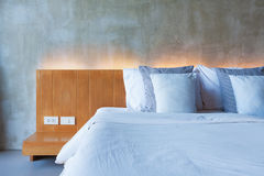 Cement interior style in bedroom Stock Photo