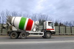Cement lorry. A cement lorry being driven along a motorway royalty free stock photography