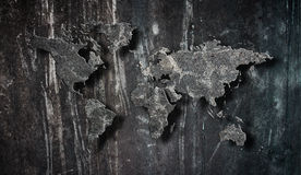 Cement Map. Black background with world map Stock Image