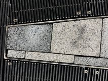 Cement and Metal Grid. Background Stock Photo