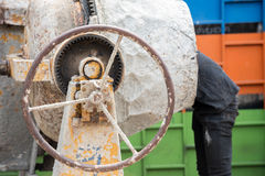 Cement mill. A man is working in cement mill Royalty Free Stock Photos