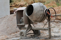 Cement mixer. Industrial cement mixer machine at construction site stock photography