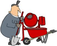 Cement Mixer. This illustration depicts a man mixing concrete with a portable unit and wheelbarrow Royalty Free Stock Photo