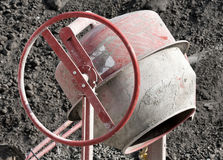 Cement mixer. At a construction site Royalty Free Stock Photo