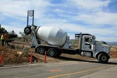 Cement Mixer. Pouring concrete at a construction site stock photos