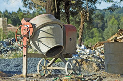 Cement mixer on building site Royalty Free Stock Images
