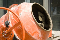 Cement mixer. At a construction site royalty free stock images