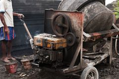 Cement mixer at a construction site. Oute Stock Photo
