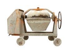 Cement mixer machine. Used cement mixer machine isolated on white background Stock Image